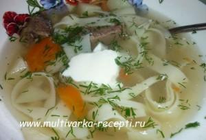 Суп с домашней лапшой в мультиварке