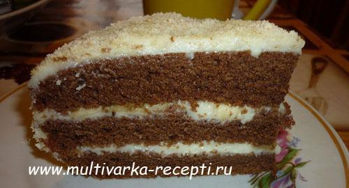 Торт с заварным кремом в мультиварке пошаговый рецепт с