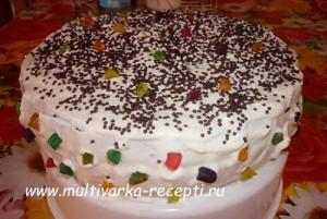 Ванильный торт на кипятке в мультиварке