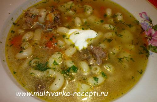 как приготовить куриный суп с рожками в мультиварке