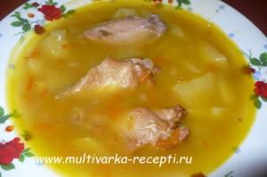 Суп с копчёными крылышками в мультиварке
