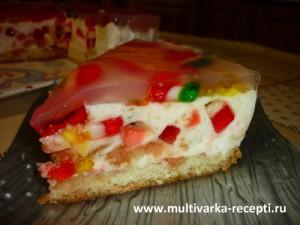 Желейный торт со сметаной и мармеладом в мультиварке