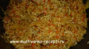 Капуста тушеная с рисом в мультиварке
