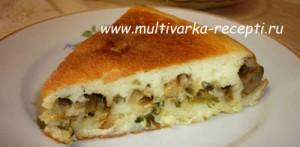 Пирог с печеными баклажанами и сыром в мультиварке