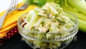 Салат с сельдереем, яблоком и сыром
