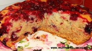 Постный вишневый пирог в мультиварке