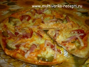 Пицца из дрожжевого теста  в мультиварке
