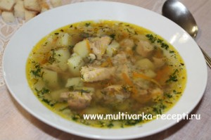 Гречневый суп с горбушей консервированной в мультиварке