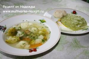 Детский овощной суп + гарнир в мультиварке