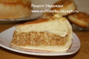 Дрожжевой пирог с яблоками в мультиварке