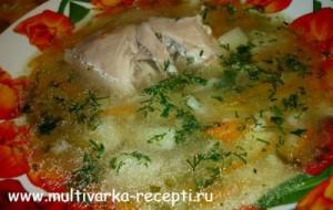 Суп с солеными огурцами в мультиварке