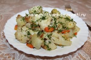 Цветная капуста с картофелем в мультиварке