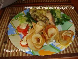 Картофельные розы и семга на пару в мультиварке