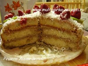 Торт из простого бисквита в мультиварке