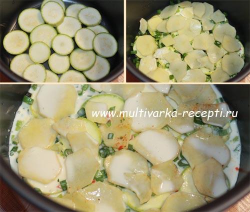 Рецепт кабачков с фаршем в мультиварке
