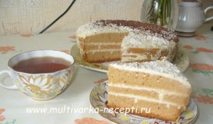 Торт с нежным творожным кремом  в мультиварке