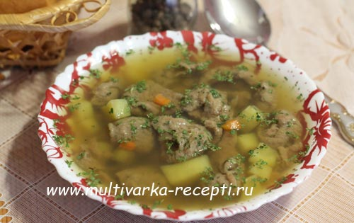суп с печеночными кнелями в мультиварке
