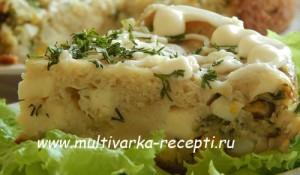 Заливной пирог c яйцом и луком в мультиварке