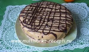 Бисквитный торт на кипятке в мультиварке