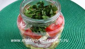 Овощной салат с яйцом | Походный салат в банке