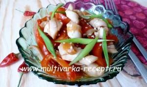 Кальмары с овощами – острая закуска