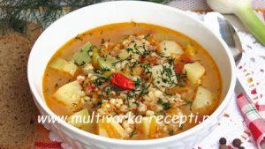 Постный овощной суп с булгуром в мультиварке