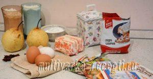 Пирог с грушами и кремом (из песочного теста)