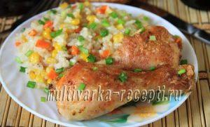 Курица с рисом и кукурузой в духовке: рецепт с фото пошагово