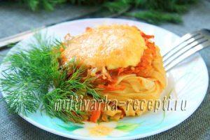 Гнезда из макарон с фаршем в духовке: пошаговый рецепт