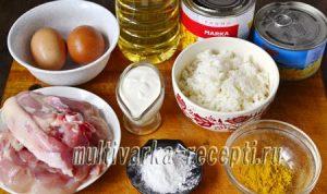 Карри-салат с курицей, ананасами и рисом