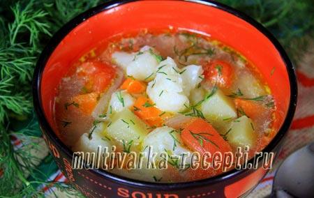 Как приготовить суп с цветной капустой в мультиварке