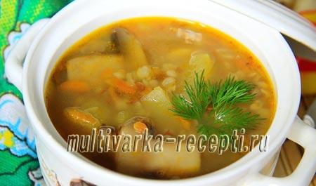 гречневый суп и грибами в мультиварке