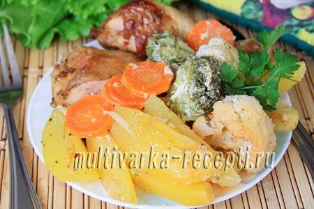 Курица с овощами в рукаве в духовке рецепт с фото