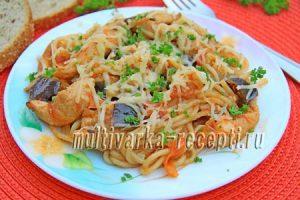 макароны с курицей и овощами в мультиварке рецепт