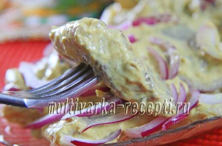 сельдь под горчично-майонезным соусом