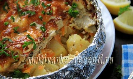 картофель со скумбрией