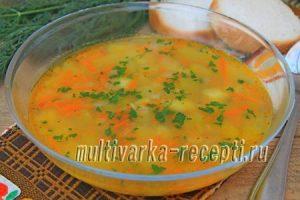 Легкий овощной суп с овсяными хлопьями в мультиварке