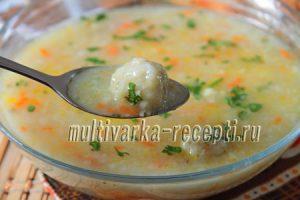 Суп с рисом и рыбными фрикадельками