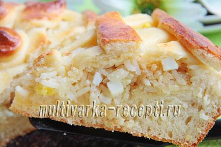пирог с рисом, луком и яйцами в духовке