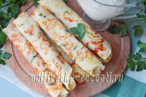 Сырные блинчики с зеленью, рецепт с фото