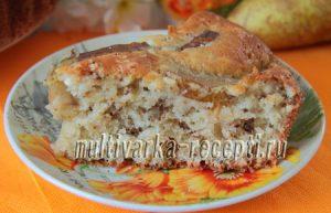 Творожный кекс на кефире с грушами и грецкими орехами