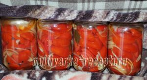 Помидоры дольками с луком и маслом на зиму