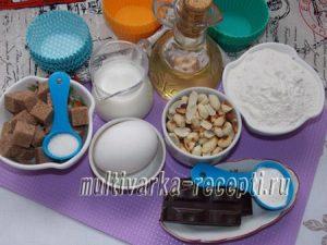 Ореховые кексы с кусочками шоколада