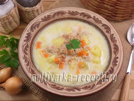 Суп сырный с фаршем и овощами