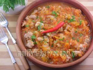 Мясо в тыквенно-томатном соусе в мультиварке