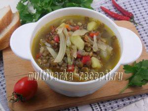 Капустный суп с чечевицей в мультиварке