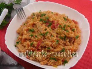 Мясо с лечо и рисом в мультиварке