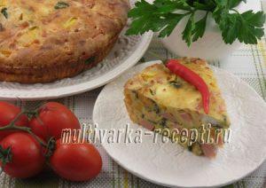 Пирог с ветчиной, тыквой и шпинатом