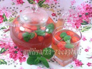 Чай зеленый с клубникой и мятой