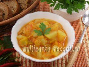 Картофель с тыквой в томатном соусе в мультиварке